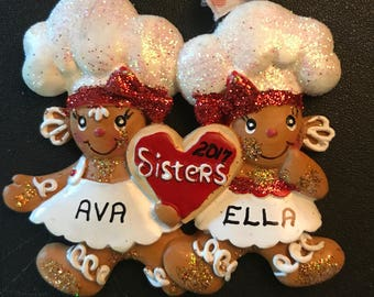 Gingerbread 2 Sisters or 3 Sisters Personalized Christmas Ornaments