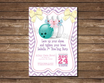 Bow-ling Party Birthday Party Invite - Bowling pins and bows  - Printable