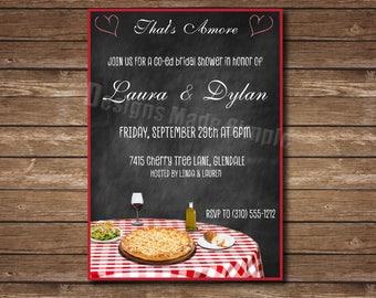Italian Dinner Pizza Themed Bridal Shower Invite - Printable
