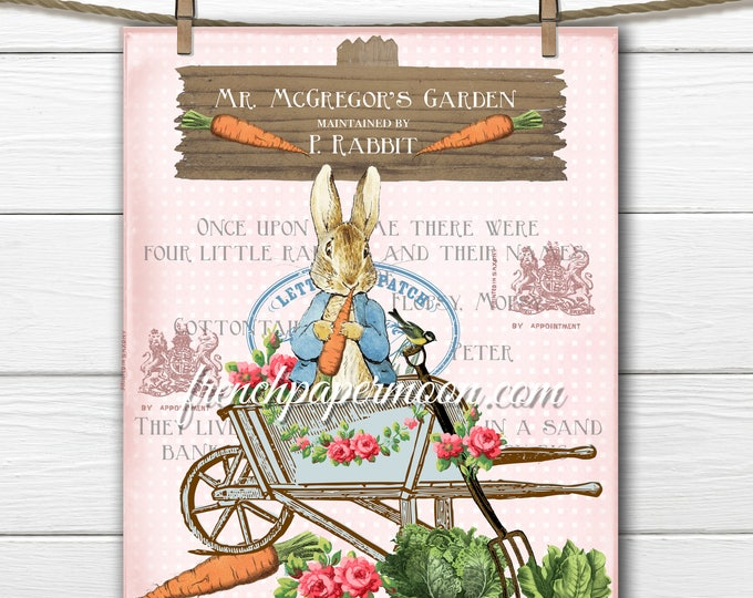 Vintage Digital Pink Peter rabbit, Shabby Beatrix Potter Digital Graphic, Peter Rabbit Pillow Digital Download, Transfer