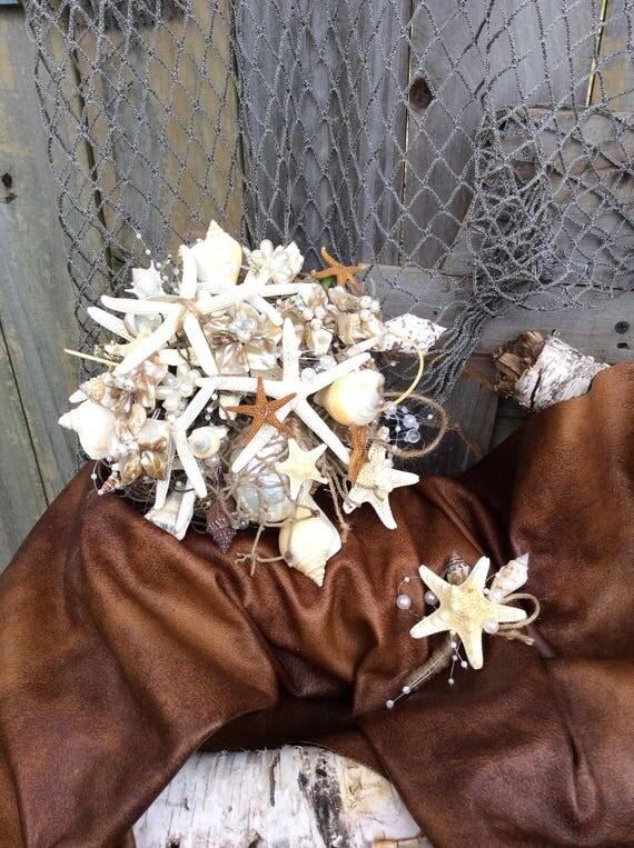 Sea Shell Bridal Bouquet Nautical Beach Wedding Starfish Coastal