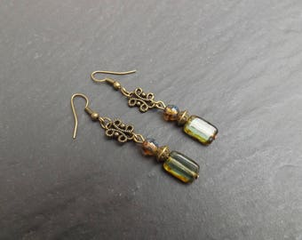 "Earrings ""Samantha"" Czech glass green and Brown beads"