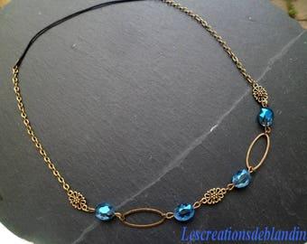 headband / head band bronze tone blue Sapphire