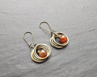 "Earrings ""rings"" Orange gold"""