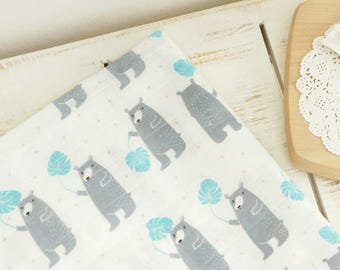 Double Gauze Fabric 100% Cotton by the yard Korea Gauze fabrics Baby Blanket _BEAR_IL094812
