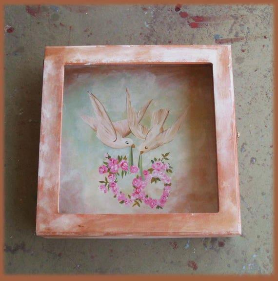 DISPLAY BOX - Wedding Crown Display Box - Stefanothiki - Wooden Display Box - Wooden Stefanothiki - Doves in love
