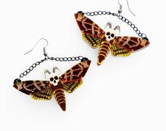 Death's head hawk moth earrings