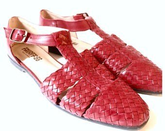 Vintage Brazillian Woven Red Sandles, Leather, Size 9