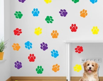 Stickers Dog Prints Paw Feet Children's Nursery Vinyl Art Decal Decor New B5