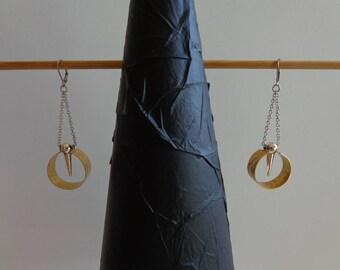 Brass Dangle Earrings, Hoop Dangle Earrings, Long Boho Dangle Earrings, Hammered Dangle Earrings, Art Deco Dangle Earrings