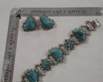 10% OFF 3 day sale Vintage  faux Turquoise bracelet and earring set