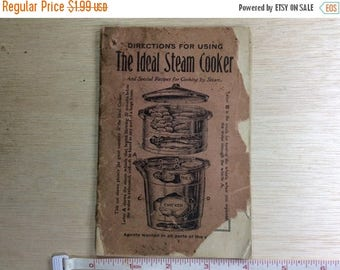 10% OFF 3 day sale Vintage Cooking Intsruction Manual The Ideal Steam Cooker Worn Used