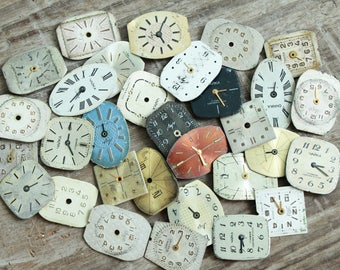 """vintage watch faces -  set of 30 (0.7-0.5"""") watch faces USSR - watches dials - supply dials - Old Vintage watch parts - steampunk supplies"""