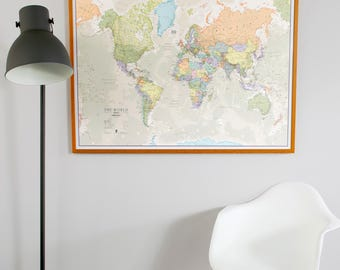 Classic World Map Home Decor Living Room Bedroom Wall Art Vintage