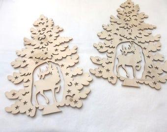 2 fir trees, wood, 20x27 cm * B quality *