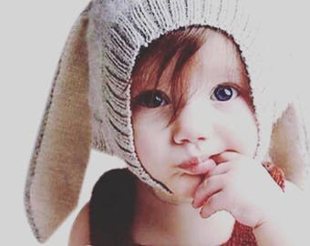 Knitted Rabbit Ears Hat- Toddler Hat - Baby Hat