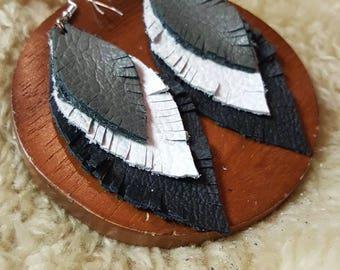 Handmade Leather Earrings - Leather Earrings - Real leather - Handmade jewlery - Earrings - Leather Jewlery