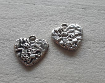 5 heart pendant decorated both sides, children, silver