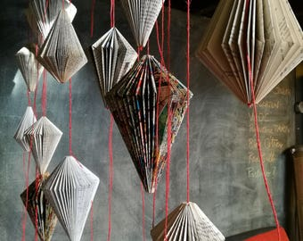 Book folded to hang