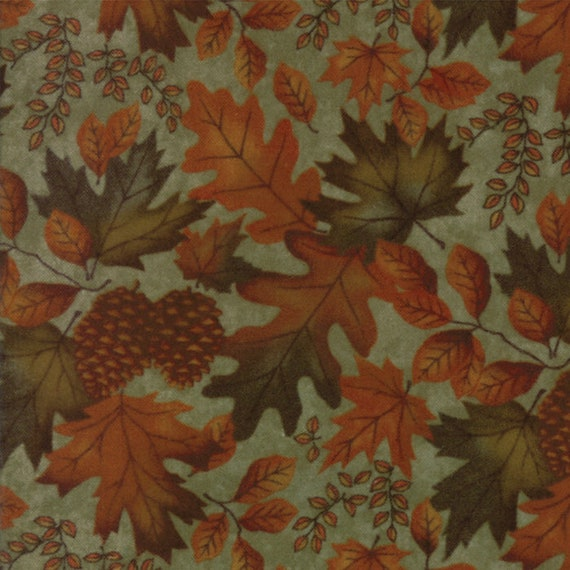 Burnt Orange Leaves and Pinecones on Sage Green In Flannel From Holly Taylor Fall Impressions Moda Fabric By The Yard 6701 18F