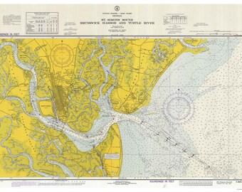 Brunswick Harbor and Turtle River 1973 - St. Simons Sound - Map Old Nautical Chart - Georgia - Reprint - AC Harbors 447