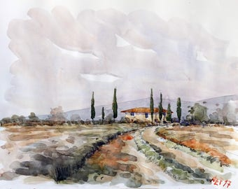 Tuscan landscape original watercolor home decor tuscany painting tuscan decor tuscan watercolor original wall art italy art tuscan art