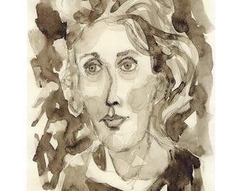Virgina Woolf art print writer book author original print virgina woolf portrait print virginia woolf portrait decor author printing