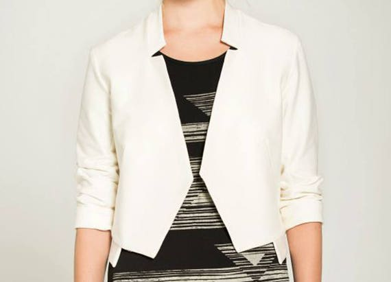 DIVE - three-quarter sleeve jacket, chic blazer, vest, cover-up for womens - ivory white