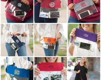 Gameday Zip Pouch, Monogram Clear Pouch, Clear Wristlet, Clear Purse, Monogram Clear Stadium Bag, Gameday Bag, Stadium Bag