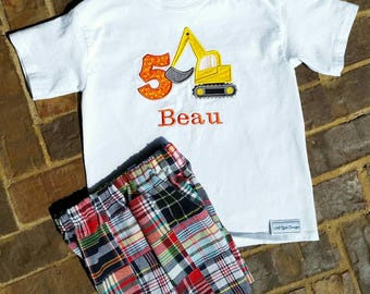 Boys Appliquéd Excavater Shirt and Shorts with Name and Birthday Number
