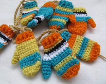 Southwest America inspired mini mitten garland / Mexican southwest colors decor / orange turquoise yellow striped mitten garland