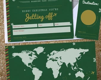 Christmas Scratch Off Boarding Pass with Map Infill