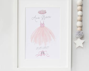 Personalised ballet print - pink nursery - ballet nursery wall art - modern nursery prints - gift for new baby - birth announcement
