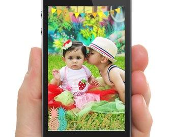 Aloha Hawaiian Luau Pineapple Geo Filter for SnapChat PNG Digital File Only