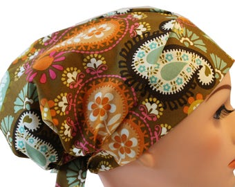 Scrub Hat Cap Chemo Bad Hair Day Hat  European BOHO Pixie Brown Orange Green Pink Paisley  2nd Item Ships FREE