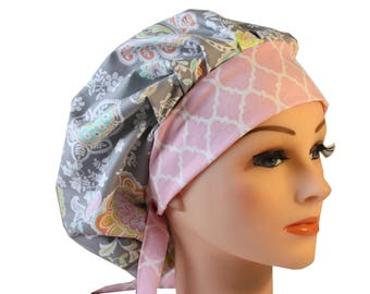 Scrub Cap Surgical Hat Chef   Dentist Hat Tie Back Bouffant Lacy Gray Pink Floral 2nd Item Ships FREE