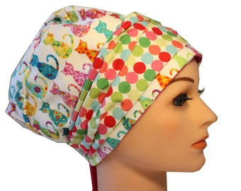 Scrub Hat Cap Chemo Bad Hair Day Hat  European BOHO Banded Pixie Tie Back Calico Cats Dots Band 2nd Item Ships FREE