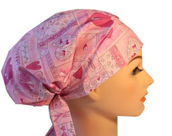 Scrub Hat Cap Chemo Bad Hair Day Hat  European BOHO Pink Ribbon Cancer Awareness Hope 2nd Item Ships FREE