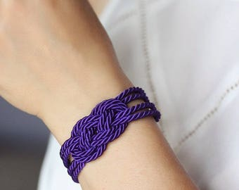 Purple Bracelet Purple Rope Bracelet Purple Knot Bracelet Twisted Cord Bracelet Love Knot Jewelry Infinity Nautical Bracelet Sailor Knot