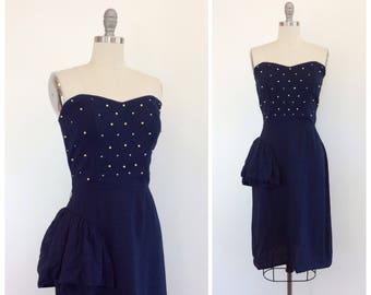 50s Blue Linen Rhinestone & Faux Pearl Wiggle Dress / 1950s Vintage Hourglass Dress / Medium / Size 8