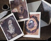 Greeting cards, set of six sleepy animals badger, fox and hare.