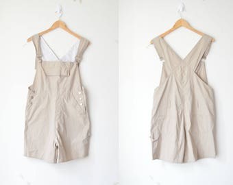 vintage beige shortall dungarees jumpsuit romper overall 80s 90s // M-L