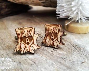Personalized Tree Stump Wooden Cufflinks Tree Log Dad Grooms Best man Groomsman Rustic Wedding Birthday Gift Cuff links