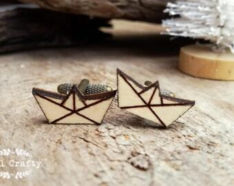 Origami boat Wooden Cufflinks Geometric boat Dad Grooms Best man Groomsman Rustic Wedding Birthday Gift Cuff links
