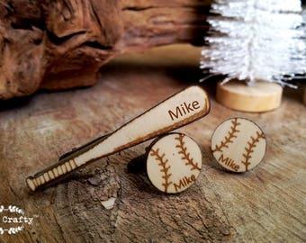 Baseball bat tie clip baseball Cufflinks Dad Grooms Best man Groomsman Rustic Wedding Birthday Sportsman Gift Personalized Cuff links