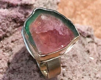 Watermelon Tourmaline Slice Ring