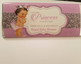 Lavender Royal Princess Candy Bar Wrappers, Party Favors - Digital File or Printed