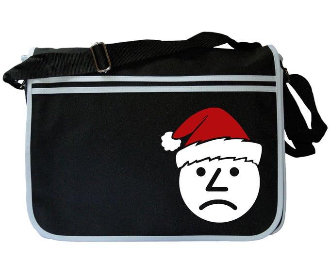 Sad Onion Santa Hat Black Messenger Shoulder Bag