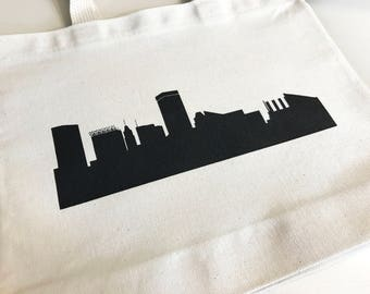 Set of 12 Baltimore Skyline Wedding Favors, Custom Screen Printed Canvas Tote Bags For Wedding Guests