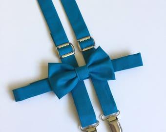 Oasis Blue Bow Tie and Suspender Set, Teal Suspenders, Men's Suspenders, Blue Suspender Bow Tie, David's Bridal Oasis, Dark Teal